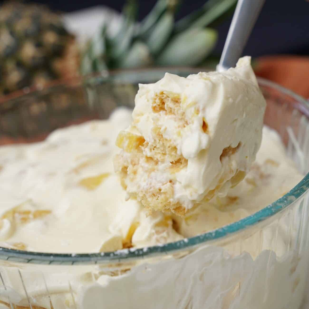 Fräsch tårta med ananas (går att göra med annan frukt också)