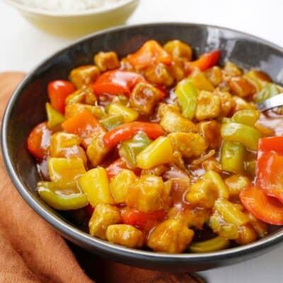 Sweet and sour quorn - funkar utmärkt med kyckling också