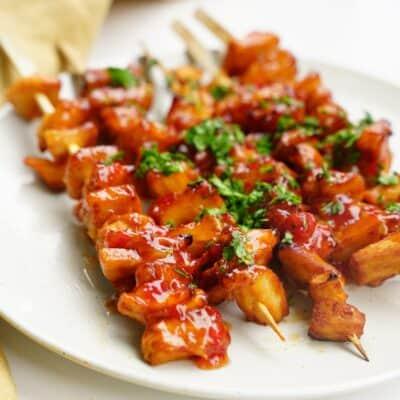 Sweet chili soyaspett - Vegetariska grillspett